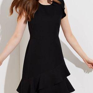 LOFT Black Wraparound Flounce Flare Dress Size 8